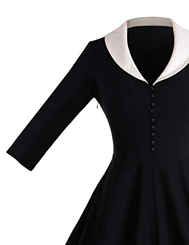 Swing GownTown Collar Womens Vintage 1950s Cape Black Dresses Stretchy Xwqfw4vrx