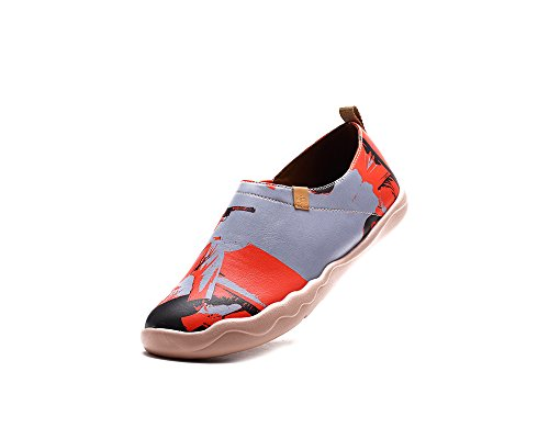 UIN Mens Paul Leather Painted Fashion Loafer Shoe Red tDALv