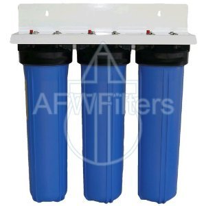 "3 Stage 20"" Big Blue Whole House Activated Alumina Water Filter w/ Radial Flow Carbon Block - Removes Fluoride, Arsenic, Sediment, Chlorine, & Chloramines"