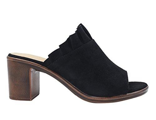 Noir 36 41 Décorée Large MaxMuxun Mode Chaussures à Pour Talon Élegant Talon Femmes Ouvert avec EU Dentelle naqpxHTUO