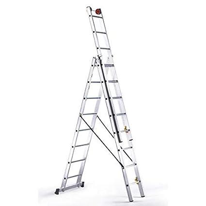 Disset Odiseo PDL0198 Escalera de Tres Tramos Aries, 3x14 Peldaños, 150 Kg Carga, 10250 mm Altura, 480 mm Anchura: Amazon.es: Industria, empresas y ciencia