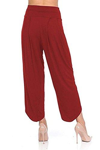Donna Solidi Pantaloni Libero High Pants Tempo Mode Palazzo Waist marca Accogliente Culotte Estivi Leggero Pantaloni Baggy Irregular Colori Elegante BOLAWOO Pantaloni Rosso di qExwF7gq