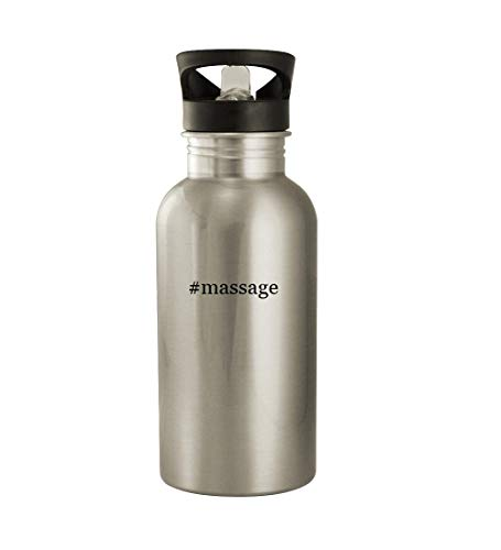 #massage - 20oz Hashtag Stainless Steel Water Bottle, Silver