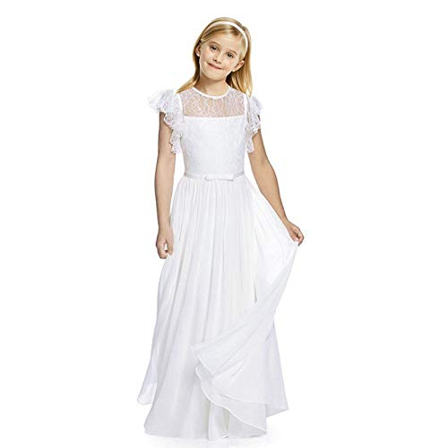 AbaoSisters Flutter Sleeves A-Line Flower Girl Dress White Size 12]()