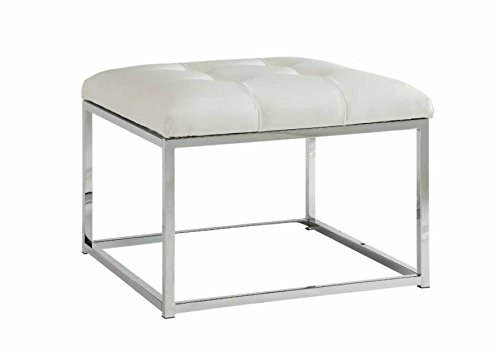 Coaster Contemporary White Ottoman