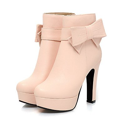 RTRY Women's Shoes PU Fall Winter Comfort Novelty Fashion Boots Bootie Boots Chunky Heel Pointed Toe Booties/Ankle Boots Bowknot Buckle For US6.5-7 / EU37 / UK4.5-5 / CN37 ooImzpqnku