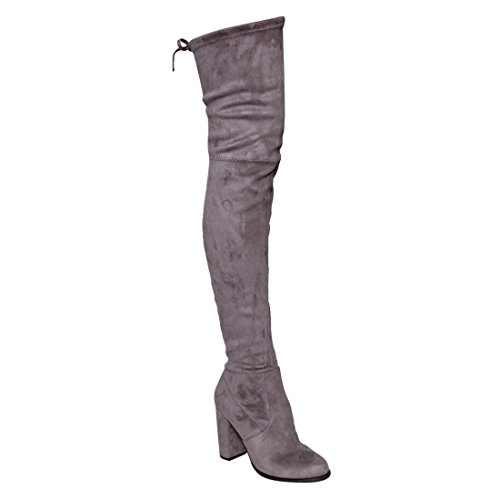 BESTON GF58 Women's Drawstring Inside Zip Block Heel Snug Fit Thigh High Boots, Color Grey, Size:8.5 by BESTON