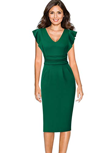VFSHOW Womens Elegant Ruched Ruffle Flutter Sleeve Green Work Business Office Party Sheath Dress 2355 GRN XXL