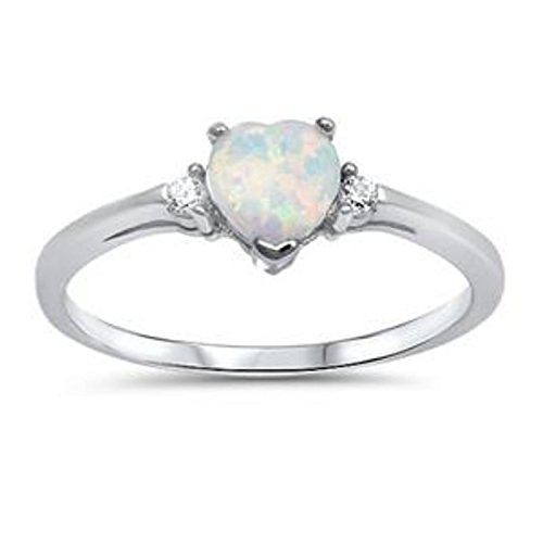 925 Sterling Silver Promise Ring Heart Shaped Lab Creatd White Opal Clear CZ Accent 3 Stone Wedding ()