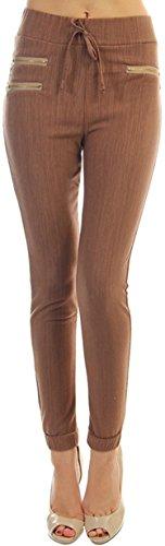 tobeinstyle-womens-fleece-lined-denim-pants-zipper-mocha-m-l