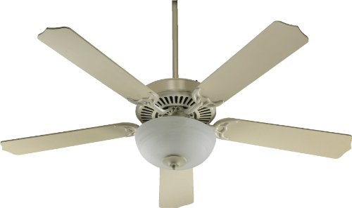 Quorum International 77525-9267 Capri III 52-Inch 2 Light Ceiling Fan, Antique White Finish with Faux Alabaster Glass Bowl and Antique White Blades