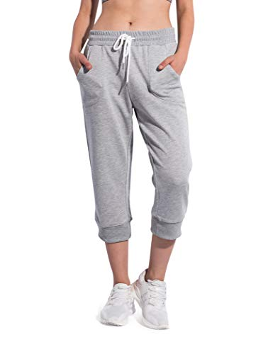 BLUE CHILL Women's Cropped Pant Jogger Lounge Capri Sweatpants with Drawstring and Pockets,Grey,S