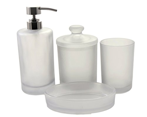 Nature Home Decor 716-1349 Premium Glass 4-Piece Bathroom Accessory Set of Cloud Collection - Attractive, simple and attractive design Suitable for home and commercial use Liquid dispenser has metal pump which is tarnish resistant and has antique finish - bathroom-accessory-sets, bathroom-accessories, bathroom - 312e%2By38yUL -