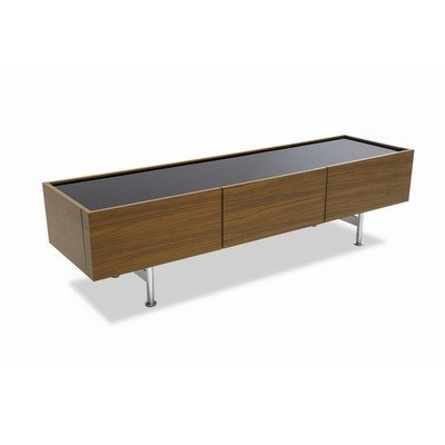 Horizon Low Cabinet Frame: Veneered Canaletto Walnut, Table Top Finish: Frosted Black Glass (Calligaris Dining Room Cabinet)