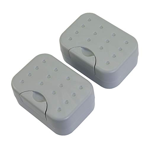 IZTOSS 2 Sets Soap Case Holder Container Box Dishes Home Outdoor Hiking Camping Travel-Gray