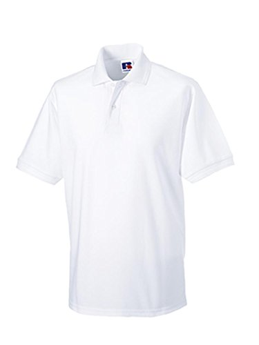 Russell Men's Hardwearing Pique Short Sleeve Polo Shirt White M
