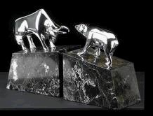 Marble Stock Market Bookends - Stock Market Bull and Bear Bookends