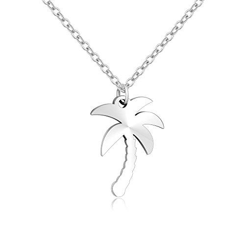 MANZHEN Stainless Steel Beach Palm Tree Pendant Charm Necklace