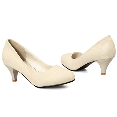 Bas Soiree Talon Enfiler A Chaussures Femme Escarpin COOLCEPT Beige Escarpins Mode WwYqanzz4