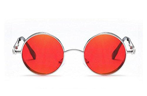 unisexe punk lunettes Lunettes rétro Rouge soleil de soleil polarisées mode de lunettes rondes Keephen Argent dI86w7qYIx