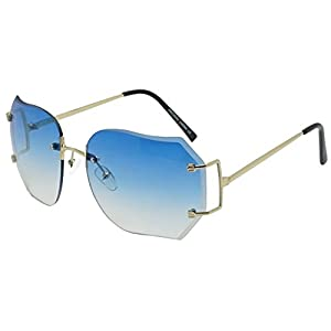 Oversized 70s Classic Large Rimless Laser Cut Transparent Colored Lens Sunglasses Women's Frameless Clear Lenses Eyewear Glasses (Gold | Blue, 65)