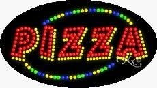 Diners Bars LED Pizza Sign for Business Displays 15H x 27W x 1D Flashing Oval Electronic Light Up Sign for Restaurants