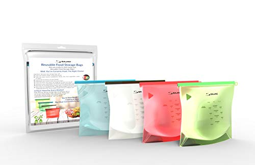Sajac 4-Pack Reusable Silicone Food Storage Bag, Great for Lunch, Snack & Sandwich Bags, Food Storage Preservation Container, Airtight Seal, Safe for Microwave, Oven, Freezer, Cooking Bag, Sous Vide
