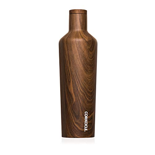 (Corkcicle Canteen Classic Collection - Water Bottle & Thermos - Triple Insulated Shatterproof Stainless Steel, Walnut Wood, 25 oz)
