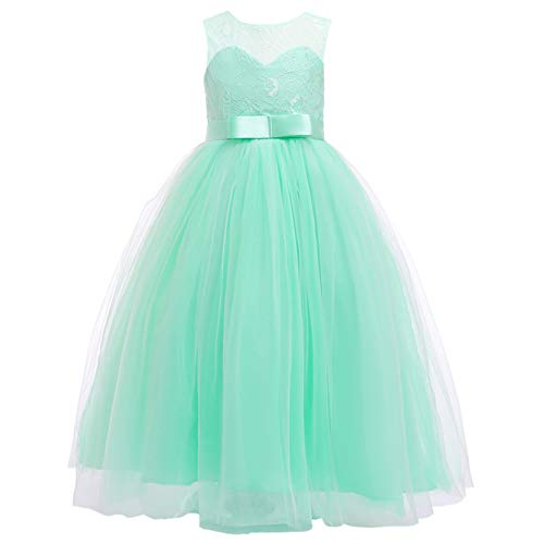 Flower Girl Dresses Teal (Glamulice Girls Lace Bridesmaid Dress Long A Line Wedding Pageant Dresses Tulle Party Gown Age 3-16Y (5-6Y,)