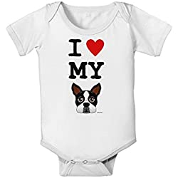 TooLoud I Heart My Boston Terrier Baby Romper Bodysuit - White - 6 Months