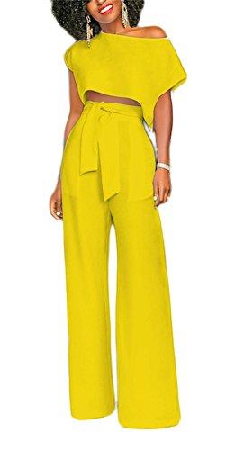 VLUNT Women's 2 Pieces Jumpsuits Outfit Crop Top Wide Leg Pants with Belt,Yellow-M