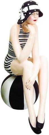 MY SWANKY HOME Retro Bathing Beauty Figurine Swim Suit Beach Ball Black White Stripe