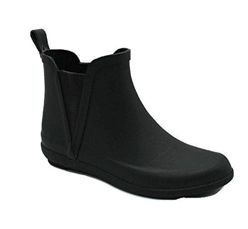 Skadoo Femme Dames Courte Cheville Haute Pluie Hiver Tout Caoutchouc Bottes Noires Chaussons Imperméable Tout Temps Noir
