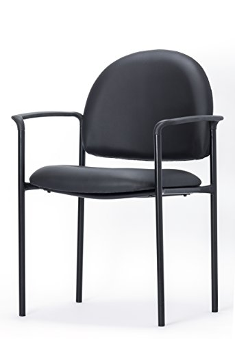 OFFICE FACTOR Stackable Guest Chair, Fabric Upholstered Waiting Room Chair for Business, Doctor's Office, Lobbies, Extra Seating with arms (Black-Vinyl) -