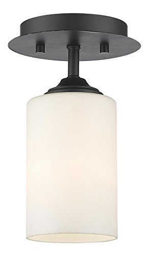 435F1-BRZ Bronze Bordeaux 1 Light Flush Mount Ceiling Fixture with Matte Opal Glass Shade