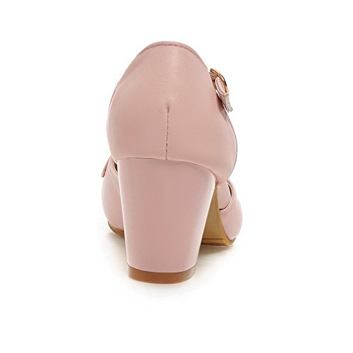 VogueZone009 Women's Soft Material Round Closed Toe Kitten Heels Buckle Solid Pumps Shoes Pink D0nJF6