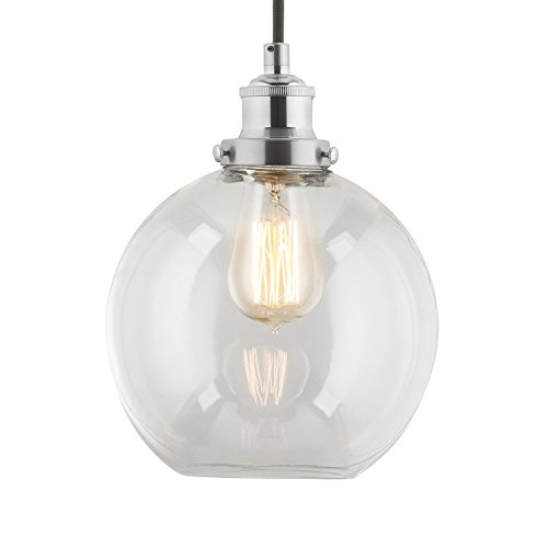 Linea di Liara Primo Industrial Factory Pendant Lamp - Brushed Nickel One-Light Fixture with Glass Shade Fabric Wrapped Cord Exposed Hardware - 5-Inch Canopy - Downlight Modern Vintage LL-P429-BN (Pendant Light Fixtures For Kitchen)