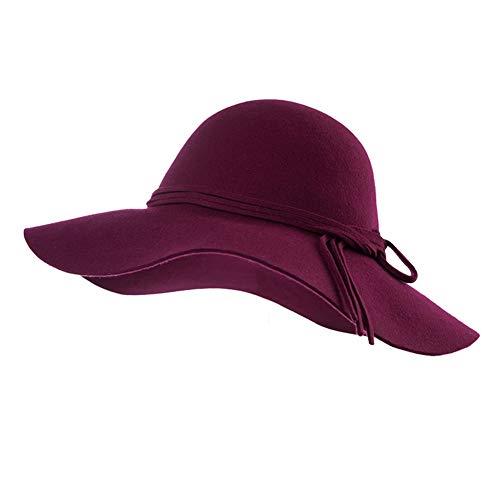 Jeff & Aimy Womens 100% Wool Felt Hat Winter Panama Fedora Pork Pie Church Derby Party Hats Wide Brim Fashion Burgundy ()