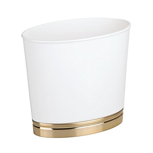 - mDesign Oval Slim Decorative Plastic Small Trash Can Wastebasket, Garbage Container Bin for Bathrooms, Kitchens, Home Offices, Dorm Rooms - White/Soft Brass