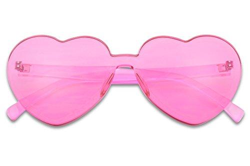 SunglassUP Overisized Novelty Transparent Once Piece Colorful Heart Shape Sunglasses (Magenta)