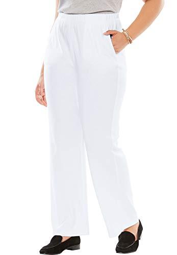 Woman Within Women's Plus Size 7-Day Knit Wide Leg Pant - White, 2X