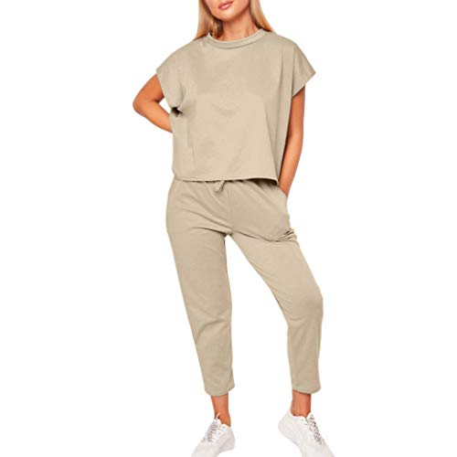 Keliay Womens Summer Tops,Womens Summer 2PCS Tracksuits Set Sport Lounge Wear Ladies Casual Tops Pant Suit Beige -