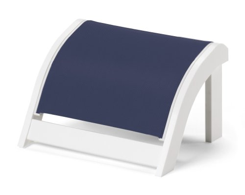 - Telescope Casual Adirondack MGP Sling Ottoman, Textured Snow Finish with Navy Sling Fabric