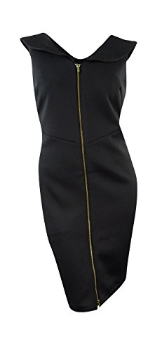 Calvin Klein Women's Petite ShawlCollar Scuba Knit Zip Sheath Dress (8P, Black)