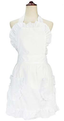 LilMents Women's Ruffles Outline Retro Pockets Apron Kitchen Cooking Cleaning Maid Costume (White)