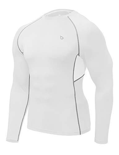 Baleaf Men's Long Sleeve Compression Shirt Quick Dry Workout Baselayer White-Panel L (Best Running Shirts For Hot Weather)