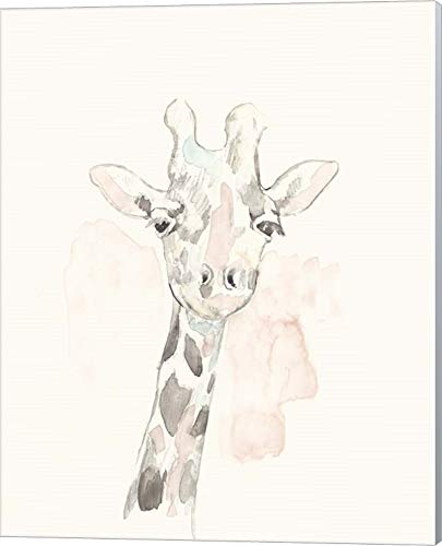 Giraffe Pastel - Pastel Safari IV by Jennifer Goldberger Canvas Art Wall Picture, Museum Wrapped with Winter Gray Sides, 16 x 20 inches