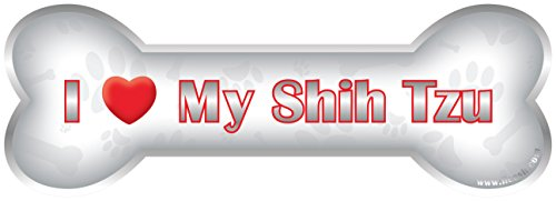 iLeesh i Love My Shih Tzu Bone Car Magnet, Reflective Chrome (Shih Bone Tzu)