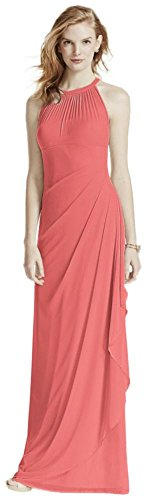 Coral Bridal Illusion Dress Long Bridesmaid David's Mesh Neckline F15662 Sleeveless Reef with Style HSqPZ