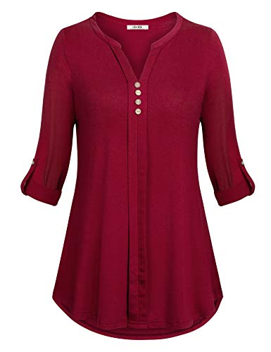 Vivilli Women's Casual Long Sleeve Button Detail Knit Sweater Tops Blouses Women's Henley V Neck 3/4 Roll Sleeve Shirt Casual Tunic BlouseWine Large (Detail Button)